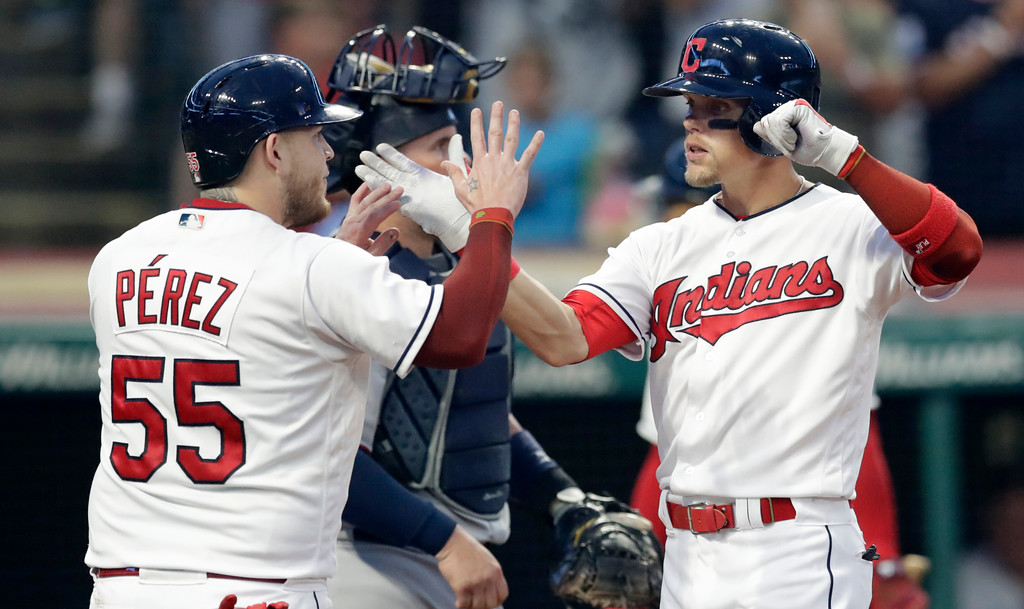 . Cleveland Indians\' Brandon Guyer, right, is congratulated by Roberto Perez after hitting a two-run home run in the fourth inning of a baseball game against the Minnesota Twins, Monday, Aug. 6, 2018, in Cleveland. Perez also scored on the play. (AP Photo/Tony Dejak)
