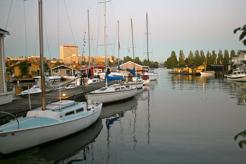Houseboat community, looking towards Montlake bridge.