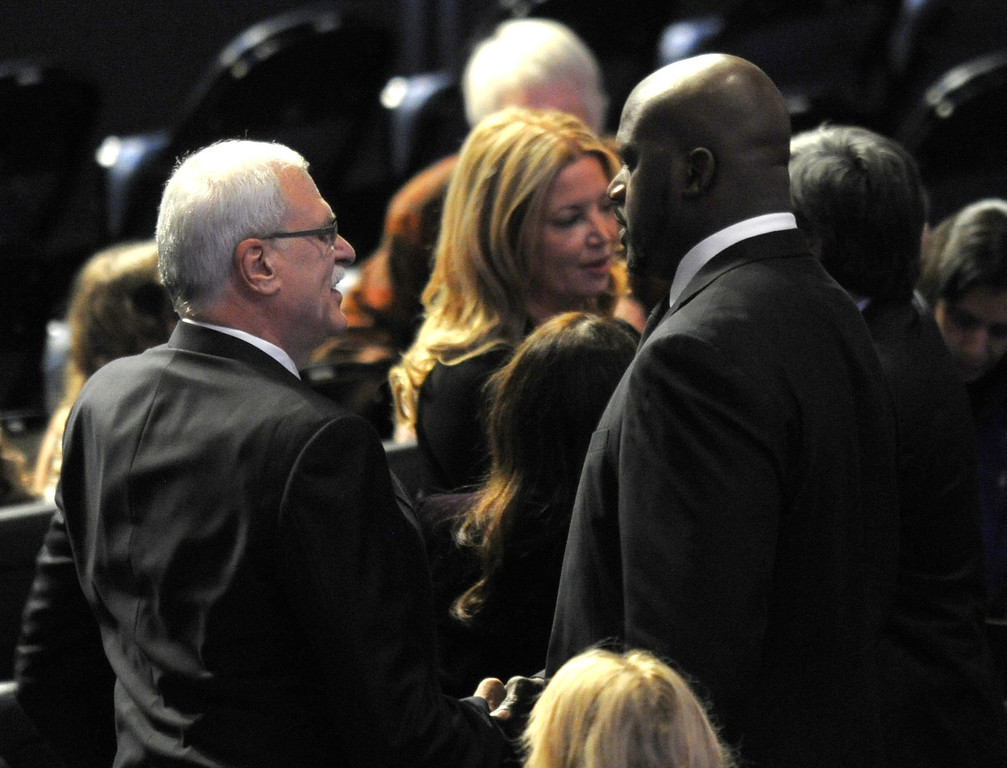. Phil Jackson, Jeanie Buss and Shaquille O\'Neal speak before the service. Family, friends current and former Lakers players and coaches attended a memorial service at the Nokia Theatre for Laker owner Jerry Buss who passed away on Monday, 2/18/2013 as a result of cancer. Los Angeles, CA 2/21/2013 John McCoy/Staff Photographer
