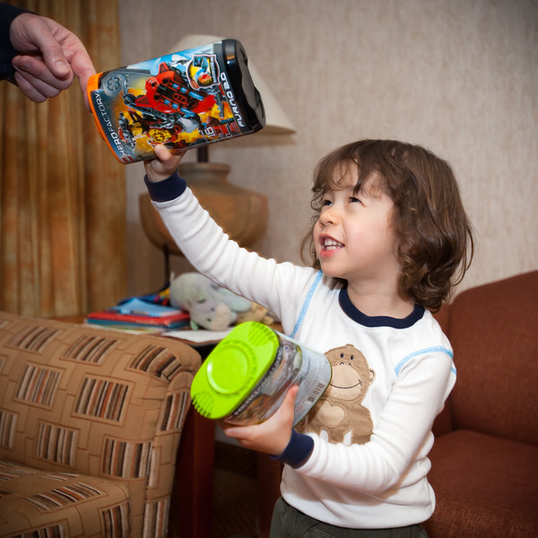 Dylan grabs some Legos