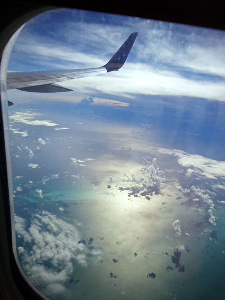I love flying. But after about 20 hours or so I was enjoying the Caribbean views here through wasted eyes and an increasingly aching body. Maybe it's just old age...?
