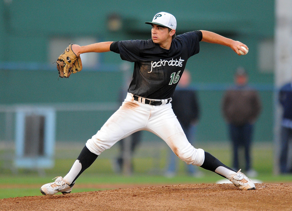 . LONG BEACH - 04/24/13 - (Photo: Scott Varley, Los Angeles Newspaper Group)  Long Beach Poly vs Lakewood in a Moore League baseball game at Blair Field. Poly pitcher Chris Castellanos.