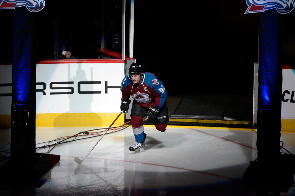 . DENVER, CO. - JANUARY 22: Colorado Avalanche left wing Gabriel Landeskog (92) takes the ice during the first period. The Colorado Avalanche hosted the Los Angeles Kings at the Pepsi Center on January, 22, 2013.    (Photo By John Leyba / The Denver Post)