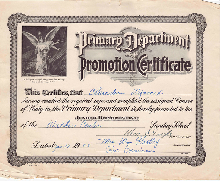 Claradean Wyncoop - Primary Department Promotion Cert. - June 17, 1928.jpg