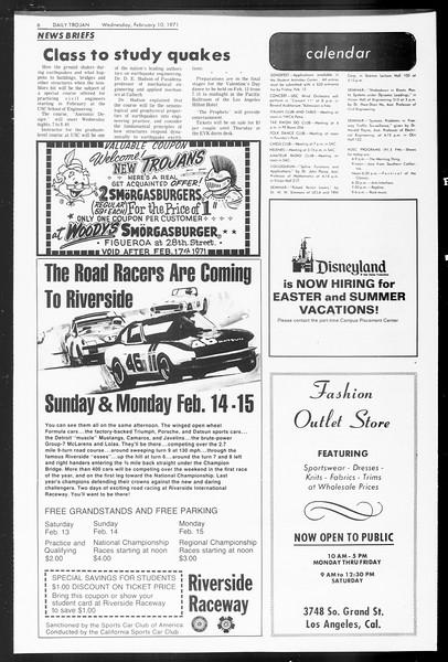 Daily Trojan, Vol. 62, No. 66, February 10, 1971