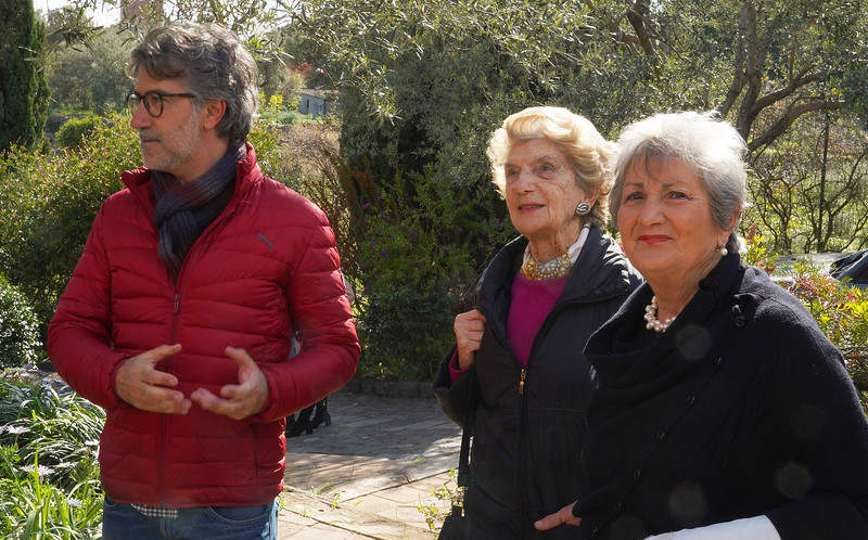 Giulia's garden in Catania.  Giulia is on the right and our guide, Sergio Cumitini on the left