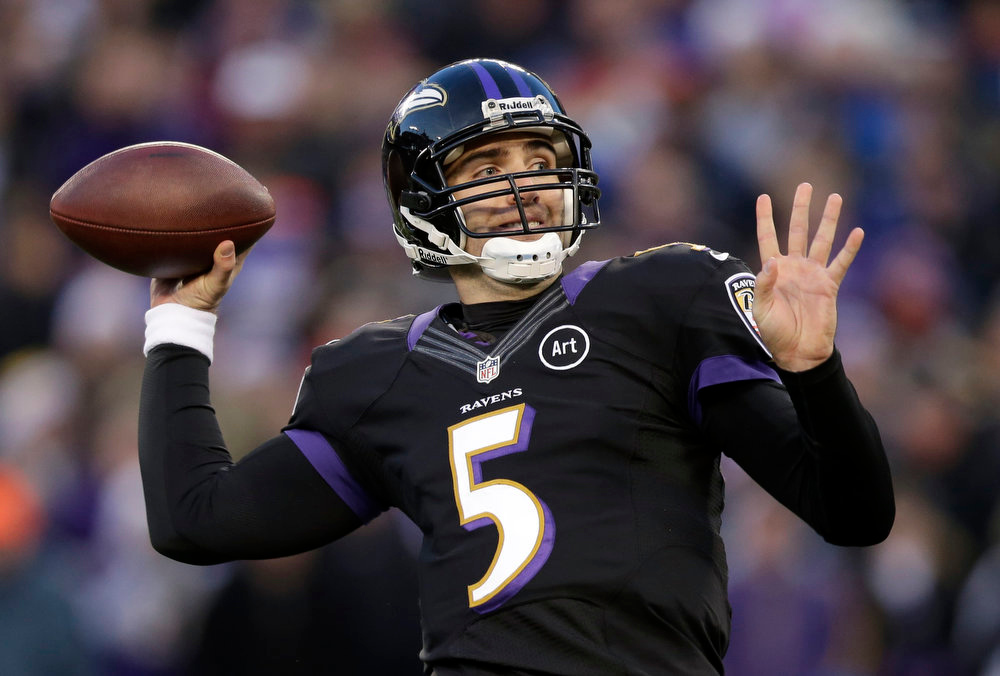. Baltimore Ravens quarterback Joe Flacco throws to a receiver in the first half of an NFL football game against the New York Giants in Baltimore on Dec. 23, 2012. Flacco agreed to a six-year, $120.6 million deal Friday, March 1, 2013, after leading the Ravens to the Super Bowl title. (AP Photo/Evan Vucci, File)