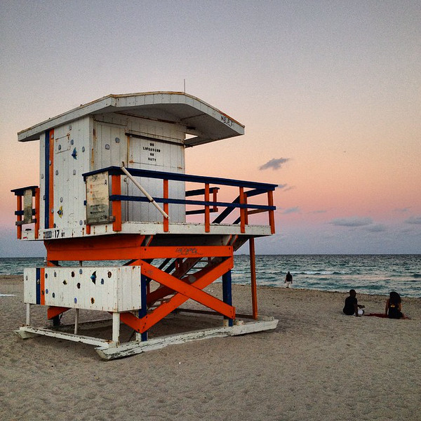 South Beach Stopover. Kickin' back at the lifeguard chair, considering the sunset. Overnight before setting off for Port-au-Prince, Haiti. via Instagram http://ift.tt/1EDfMST