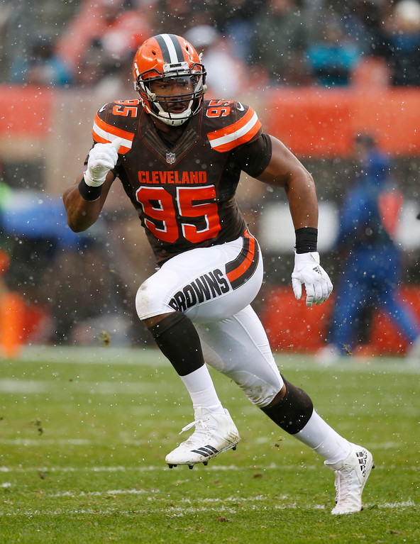 . Cleveland Browns defensive end Myles Garrett (95) runs a route in the first half of an NFL football game against the Jacksonville Jaguars, Sunday, Nov. 19, 2017, in Cleveland. (AP Photo/Ron Schwane)