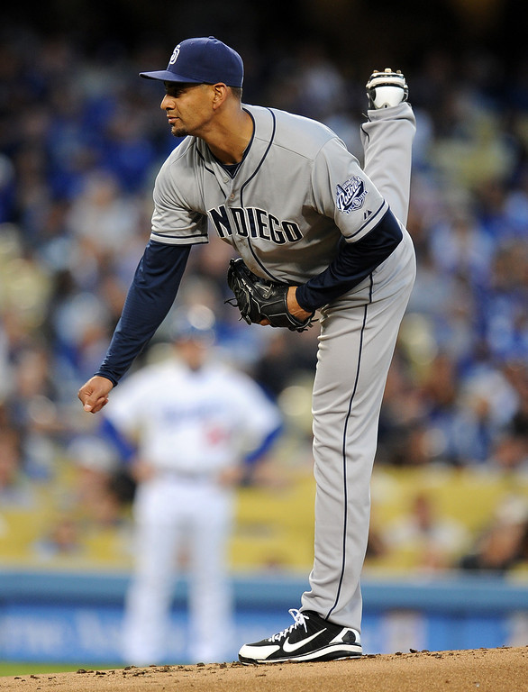. San Diego Padres starting pitcher Tyson Ross throws to the plate in the first inning of their baseball game against the Los Angeles Dodgers on Wednesday, April 17, 2013 in Los Angeles.   (Keith Birmingham/Pasadena Star-News)