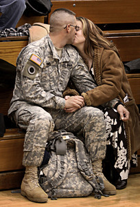 Medina Welcome Home Ceremony: SGT Bryan Himel kissing his fiancee Fran Tahsler after ceremonies. (David Liam Kyle/Sun News)