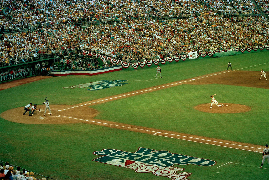 . General view of the 1984 World Series between the San Diego Padres and the Detroit Tigers at Jack Murphy Stadium in San Diego, October 1984. Lou Whittaker of the Detroit Tigers is at bat. (AP Photo)