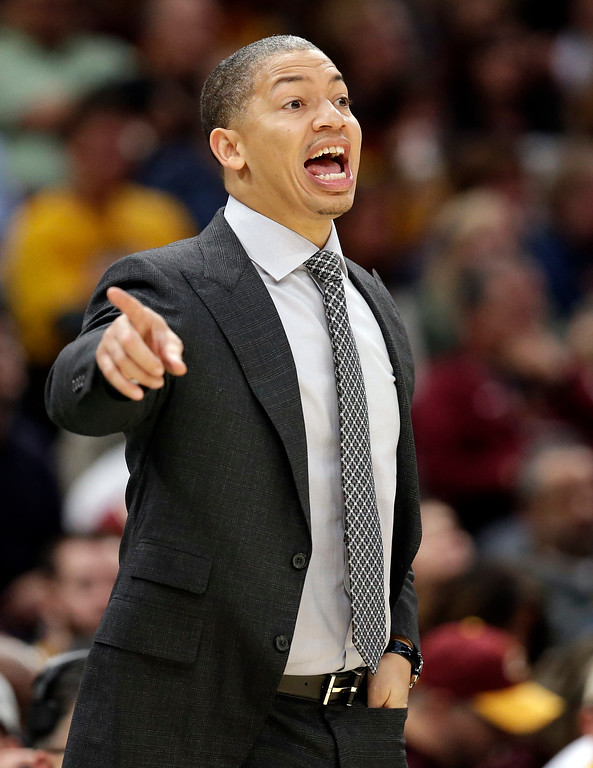 . Cleveland Cavaliers head coach Tyronn Lue yells to players in the second half of an NBA basketball game against the Milwaukee Bucks, Tuesday, Nov. 7, 2017, in Cleveland. The Cavaliers won 124-119. (AP Photo/Tony Dejak)