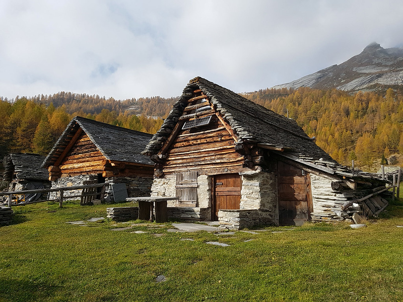 Magnello Alp, some of the typical farmsteads during autumn. Source: hiveminer.com