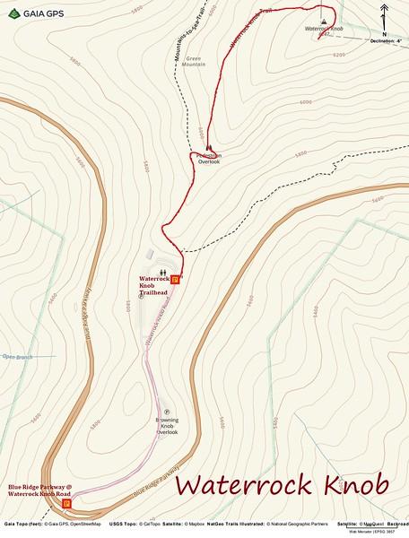 Waterrock Knob Hike Route Map