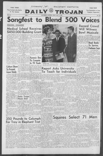 Daily Trojan, Vol. 53, No. 123, May 11, 1962