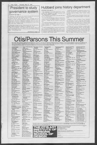 Daily Trojan, Vol. 88, No. 71, May 22, 1980