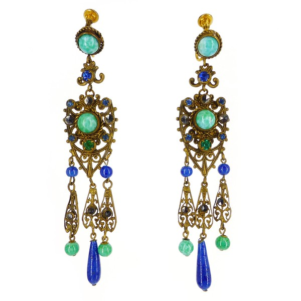 Antique Edwardian Czech Filigree Metal Lapis Glass Drop Earrings