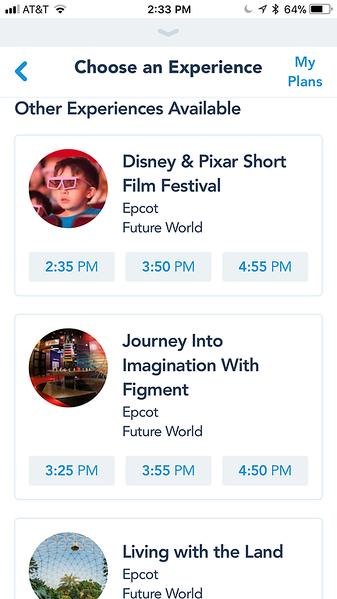 FastPass+ Availability at Epcot