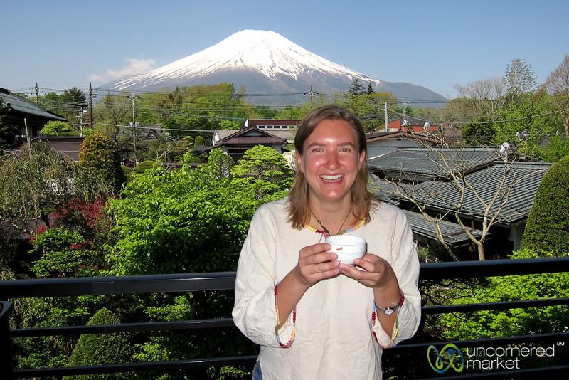 Audrey Drinking Green Tea - Mount Fuji, Japan