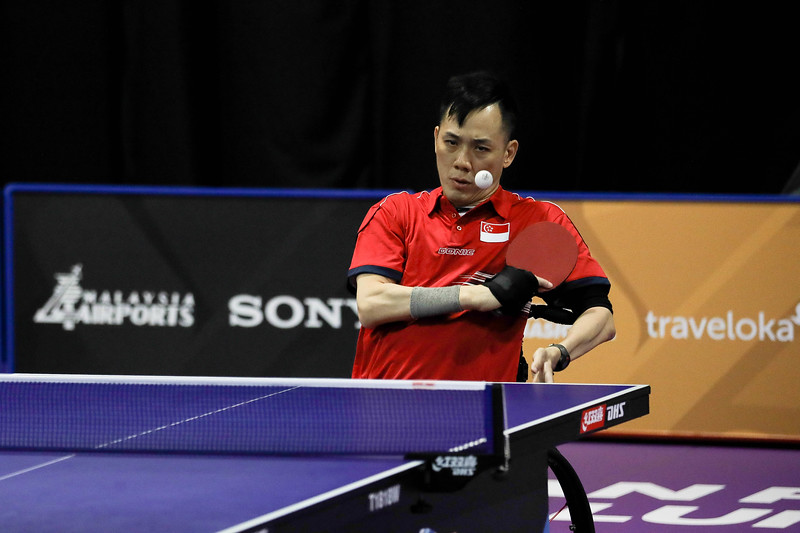 PARA TABLE TENNIS -  EUGENE SOH YEW LIN  in action & representing Singapore in Men Individual Class 4 Knockout at MITEC Hall 7, KL on September 22nd, 2017 (Photo by Sanketa Anand)