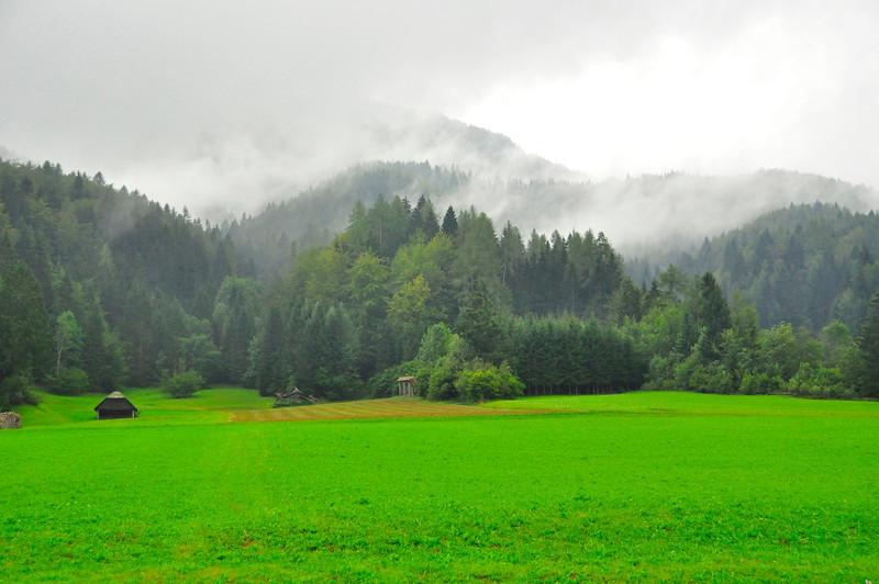 farm scene in the mountain mist