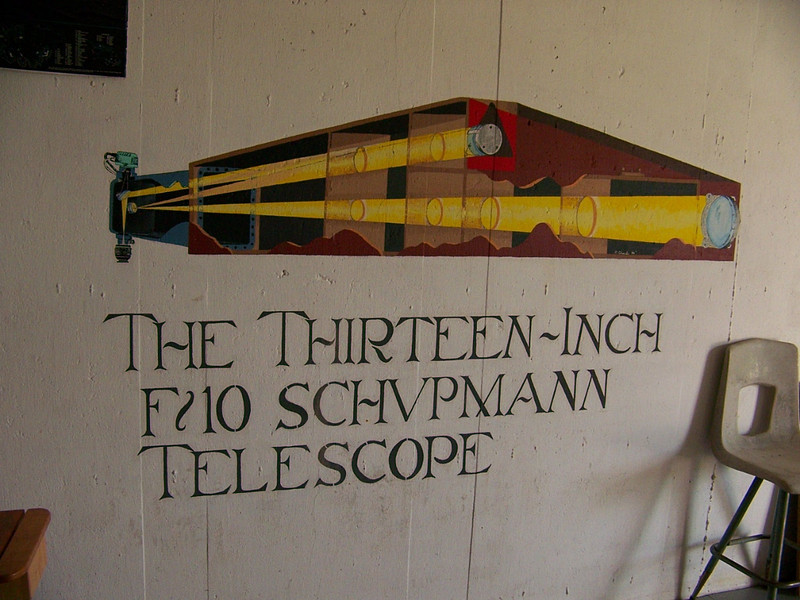 """This mural is painted on the wall in the observatory - it reads """"THE 13 INCH F/10 SCHUPMANN TELESCOPE""""."""