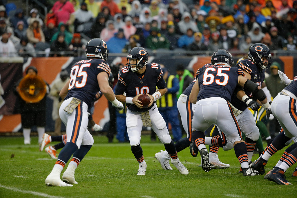 . Chicago Bears quarterback Mitchell Trubisky (10) scrambles during the first half of an NFL football game against the Green Bay Packers, Sunday, Nov. 12, 2017, in Chicago. (AP Photo/Nam Y. Huh)