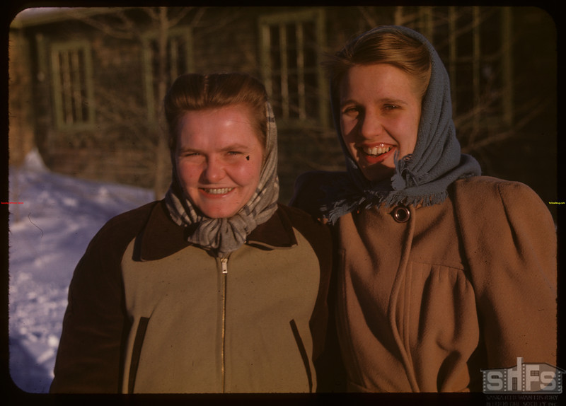 The two Wilhelmina's from Holland - Youth Training School.  North Battleford.  02/02/1948