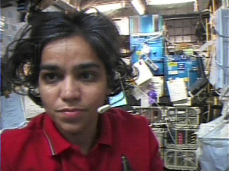 . This image released by NASA TV, Tuesday, June 24, 2003 shows Kalpana Chawla on the space shuttle Columbia during the mission in January 2003.  This image  was recovered during search efforts since the loss of Columbia on Feb. 1, 2003. (AP Photo/NASA TV)