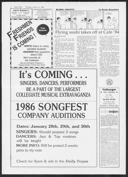 Daily Trojan, Vol. 100, No. 5, January 16, 1986