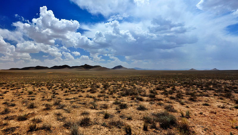 Panoramic View Of Iran Central Desert with Cloudy Sky.