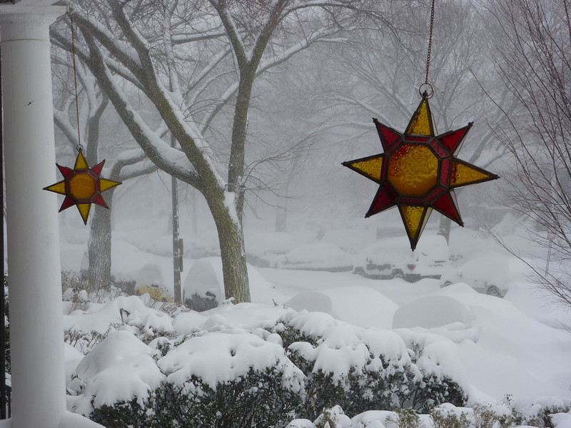 Ornaments blowing in the blizzard