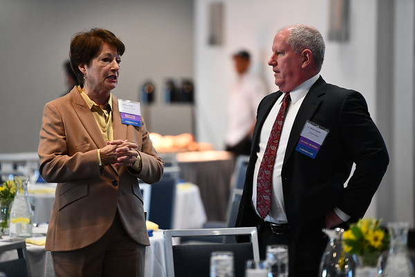 2/21/2020 Mike Orazzi | StaffrMarie O'Brien talks with Glenn Heiser before the start of Bristol Health's Annual Corporators Meeting at the DoubleTree Hotel in Bristol on Friday morning.
