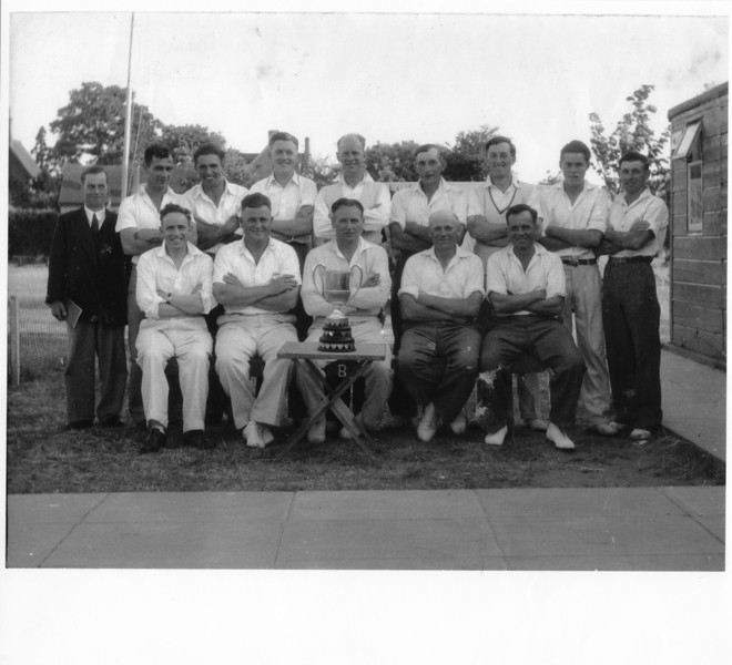 Spaldwick Cricket Team in the 1950s. Photo provided by E.A. Adams