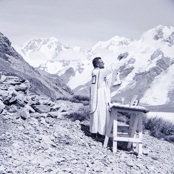 1960 Fr Doherty saying mass outside Multi Brun Hut -Tasman Glacier (LF trans) a.jpg