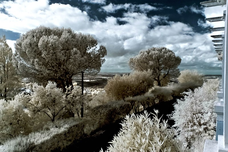 Vyhlídka z kopce nad Ourique infračerveně