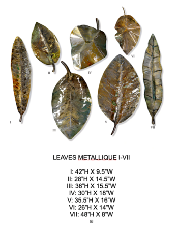 Leaves Metallique I-VII by Hollack   Paintings on metal
