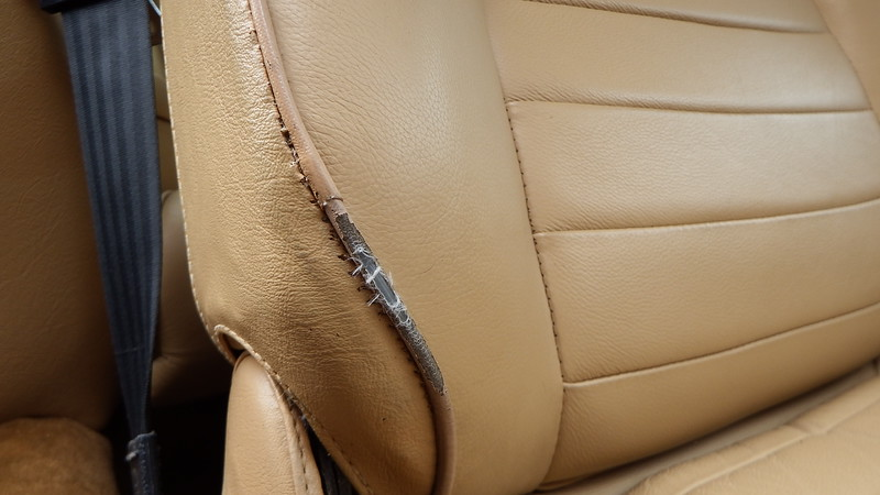 Front drivers seat piping damaged