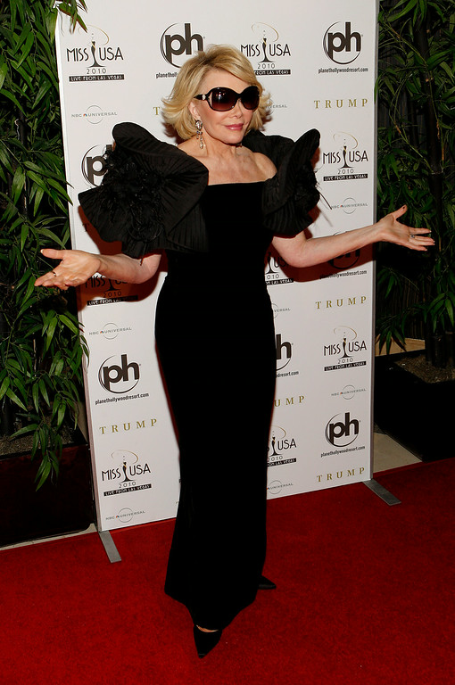 . Joan Rivers arrives at the Miss USA 2010 pageant, Sunday, May 16, 2010 in Las Vegas. (AP Photo/Isaac Brekken)