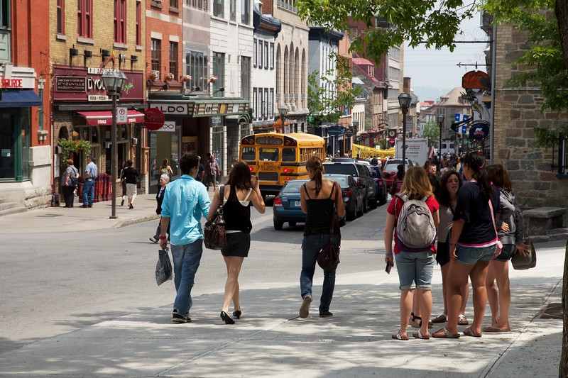 Late spring sunny day. Rue Saint-Jean. Quebec City, Canada.
