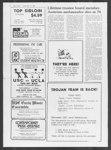 Daily Trojan, Vol. 91, No. 60, April 16, 1982