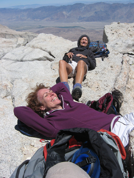 Kathy and Karen chilling on the summit