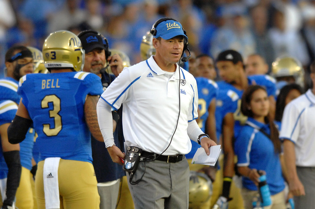 . UCLA head coach Jim Mora watches the action against Colorado, Saturday, November 2, 2013, at the Rose Bowl. (Photo by Michael Owen Baker/L.A. Daily News)