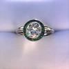 1.30ctw Old European Cut Diamond Emerald Target Ring 6