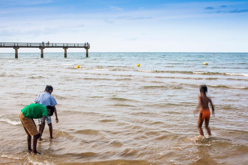 Kids bathing on Omaha Beach, Charlie Sector,  Normandy.