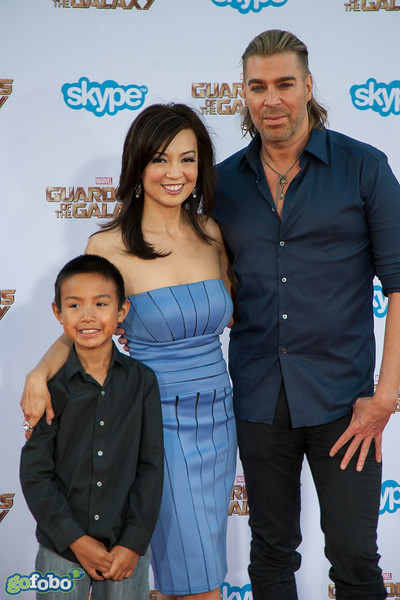 HOLLYWOOD, CA - JULY 21: Actress Ming-Na Wen (C), stylist Chaz Dean (R) and guest attend Marvel's 'Guardians Of The Galaxy' Los Angeles Premiere at the Dolby Theatre on Monday July 21, 2014 in Hollywood, California. (Photo by Tom Sorensen/Moovieboy Pictures)