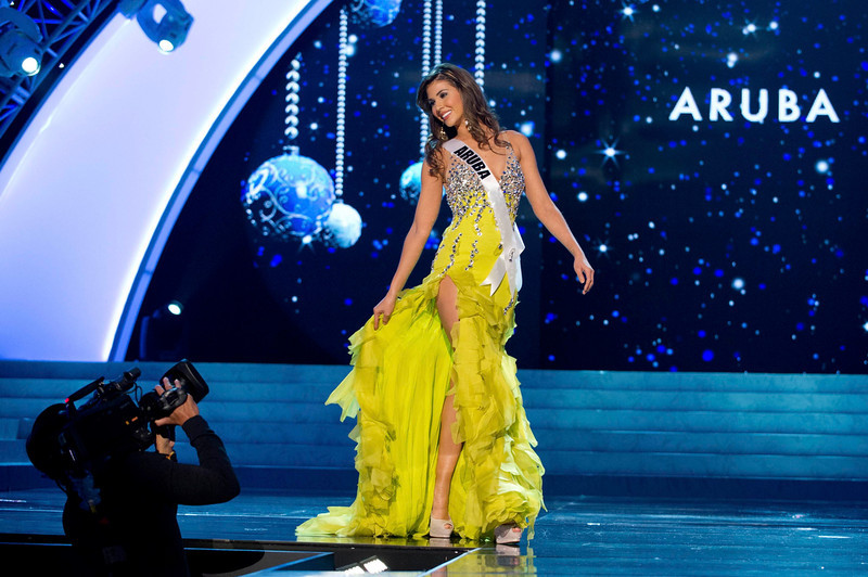 . Miss Aruba 2012 Liza Helder competes in an evening gown of her choice during the Evening Gown Competition of the 2012 Miss Universe Presentation Show in Las Vegas, Nevada, December 13, 2012. The Miss Universe 2012 pageant will be held on December 19 at the Planet Hollywood Resort and Casino in Las Vegas. REUTERS/Darren Decker/Miss Universe Organization L.P/Handout