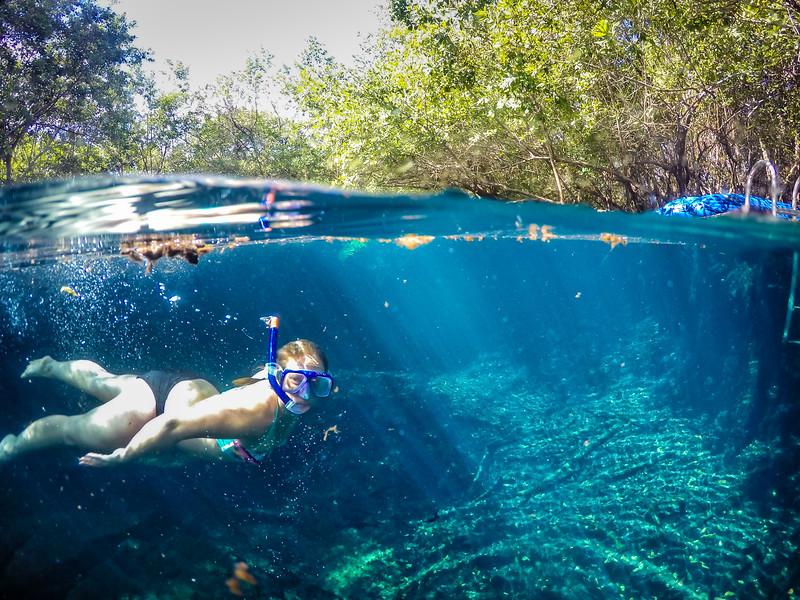 Snorkeling in Cenote in Mexico - GoPro Dome Port