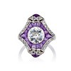 2.27ct (est) Art Deco Old European Cut Diamond with Amethyst Halo Ring 5